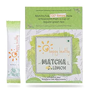 Happy Healthy Matcha Lemon Green Tea Powder - All Natural, No Added Sugar, Mixes Instantly, Helps Weight Loss, Antioxidant Rich Health Drink, Enjoy hot or Cold, Product of Japan - 10 Servings