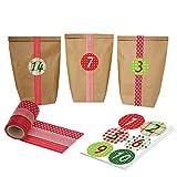 DIY Adventskalender mit WashiTape - zum selber basteln und befüllen - rot - mit 24 Zahlenaufklebern und Papier Tüten - Set 5