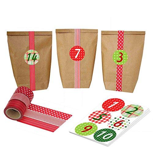 DIY Calendario de Adviento para la fabricación y llenado - Washi Blanco engastado con Bolsas y Pegatinas de números - No. 5