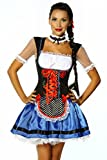 Kostüm Süsses Dirndl blau/schwarz/weiß Kleid Oktoberfest Karneval, Größe:2XL