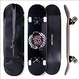 BAYTTER® Skateboard Komplett Board Funboard 79x20cm mit 7-lagigem Ahornholz und ABEC-11 Kugellager 95A Rollenhärte, für Kinder, Jugendliche und Erwachsene, 3 Farben wählbar (schwarz)