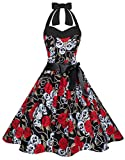 Zarlena Damen 50er Retro Rockabilly Pola Dots Petticoat Neckholder Kleid Schwarz/Skulls Small DROD-908-S