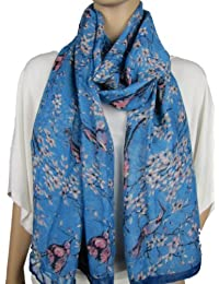 Large Japanese Vintage Style Bird Cherry Blossom Tree Print Scarf Wrap Hijab Shawl (Blue)