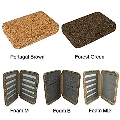Riverruns Portugal Fly Fishing Box Cork Flies Box Flies Storage Nature Cork Laminated,3 Different Foams Ice Fishing Box 5.51X3.74X1.1 inch by Aventik