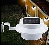 Kingko Solarlicht 4 LED Superhelles Weitwinkel Solarleuchte, Helle Solarbetriebene Sicherheitswandleuchte, für Garten, Garage, Auffahrt, Pfad, Innenhof und Balkon (weiß)