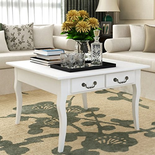binzhoueushopping Table Basse avec 4 tiroirs Design Simple et élégant Blanc Taille Totale 80 x 80 x 50 cm (L x l x H) Table Basse Design