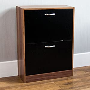 Home Discount 2 Drawer Shoe Cabinet Cupboard Shoe Storage Organiser Pull Down Wooden Furniture Unit, Walnut & Black