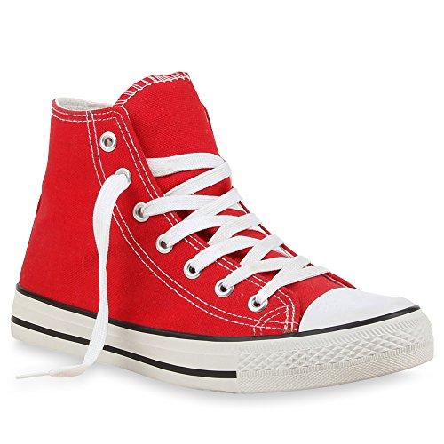 Damen Sneakers Denim Stoff Spitze Sneaker Low Nieten Glitzer Freizeit Damen Turn Schuhe 35333 Rot 43 Flandell (High-top Glitzer Sneaker)