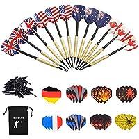 Sinwind Dartpfeile mit Kunststoffspitze, 12 Stück Soft Dartpfeile Set für Elektronische Dartscheibe + 36 Flights 12 Motive (enthält 6 Nationalflagge Stile) + 36 Kunststoff Dartspitzen