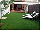 Yazlyn Collection High Density Polyester Blend Artificial Grass Carpet Mat for Balcony