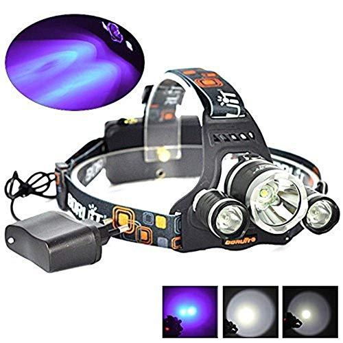 TYCXYD Faros Luz Táctica Luz Negra Faros Cabeza Linterna UV UV LED4 Modo 395-410nm Detector De Orina...