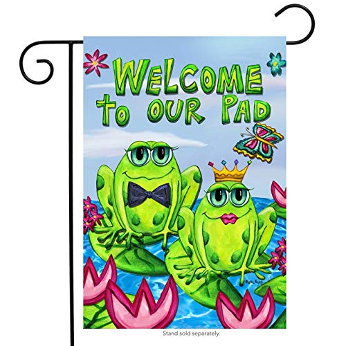 ASKYE Frog Couple Welcome Garden Flag Butterflies Lily Pads Summer Pond for Party Outdoor Home Decor(Size: 28inch W X 40inch H) -