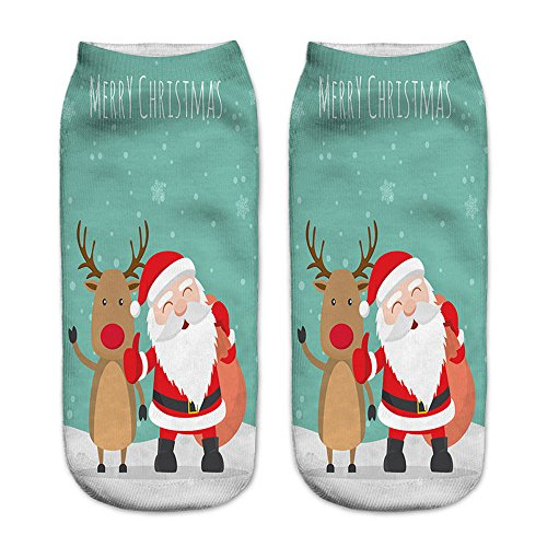 Goosuny 1 Paar Weihnachten Socken Unisex 3D Gedruckt Lässige Sportstrümpfe Farbige Niedlich Low Cut Söckchen Damen Herren Sneaker Socken Sportsocken(L)