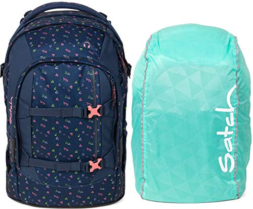 Satch Pack Funky Friday 2er Set Schulrucksack & Regencape Mint