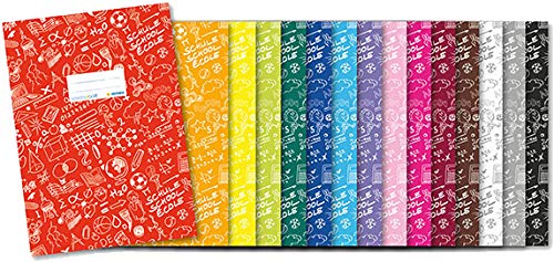 Herma 19408 Heftumschlag Din A4 SCHOOLYDOO, Kunststoff Gemustert, schwarz, 15 Heftschoner für Schulhefte (Alle 15 Farben)