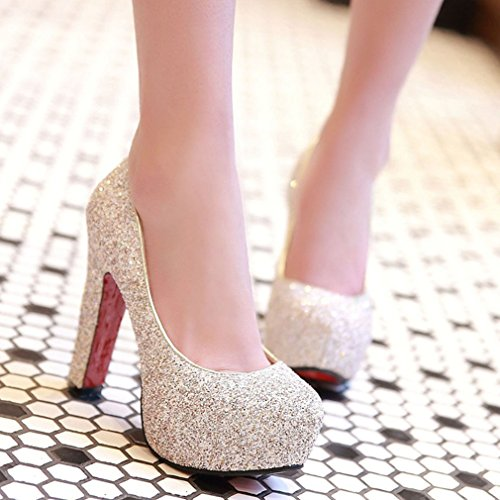 YE Chunky Rote Sohle High Heels Plateau Glitzer Pumps mit Pailletten Bequem Blockabsatz Elegant Party Schuhe Damen Absatz Gold