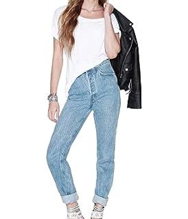 cd92c0a070d1 ZhiYuanAN Femme Boyfriend Jean Grande Taille Pantalon Baggy Denim ...
