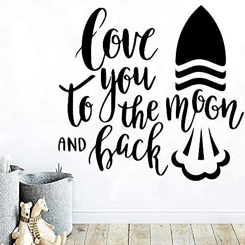 XYVXJ Pegatinas de pared y murales DIY Art Quote Moon Vinilo de pared para sala de estar Dormitorio Decoración para el hogar Stikers PVC Tatuajes de pared Decoración Accesorios 43 * 45 cm