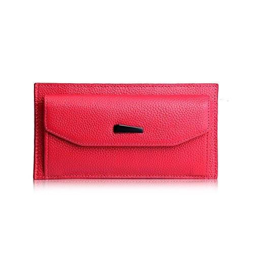 Yvonnelee Delle donne del cuoio genuino portafogli borsa esclusiva Long Bifold cassa Rose Red