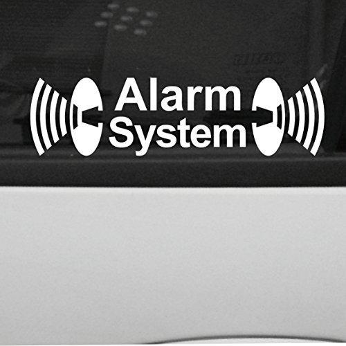 2 Stück weiß Alarm System Aufkleber die cut Tattoo Folie gespiegelt innenklebend