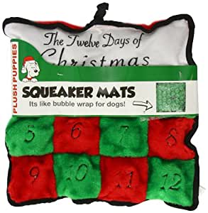 Kyjen Square 12 Days of Christmas Squeaker Mat with 16-Squeakers, Medium