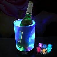 LED Acrylique Seau à glace & 6 pcs Glaçons à changement de couleur, Plastique Seau pour Champagne vin Bière Fleur Glace à nourriture, Cooler boissons Seau Party Tub KTV bar, Transparent