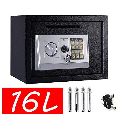 Home Digital Safes - Caja Fuerte electrónica de Seguridad con 2 Llaves, 16 L, Color Negro