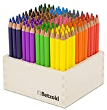 Betzold 55072 - Buntstifte-Set, 144 Dreikant-Stifte, Holzaufsteller bunt Stiftebox Holzfarbstifte Kinder malen Holzmalstifte