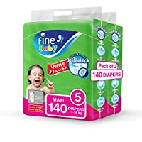 ‏‪Fine Baby Diapers, Size 5, Maxi 11–18 kg, Mega Pack, 70 Diapers x Pack of 2‬‏
