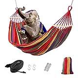 Outdoor Hängematte für 2 personen, Vkaiy Anti-Rollover Reise Segeltuch Camping Haengematte Draussen Regenbogen Stripes Swing, Liegefläche 280*150CM, Belastbarkeit bis 300 kg (Befestigungsbänder,Haken) (Red)