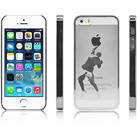iProtect funda protectora Apple iPhone 5, 5s funda en Ball Game Style transparente plata