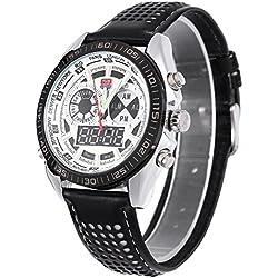 Leopard Shop TVG 568 Digital Military Wristwatch Quartz Double Movt Men Watch Day Alarm Leather Band Luminous LED Display Chronograph White