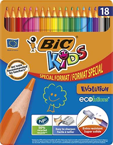 Bic - Ecolution Kids Evolution - Etui carton de 18 Crayons de couleur