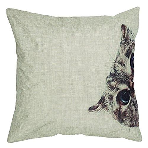 Luxbon Versteckspiel Katze Grau dauerhaft Leinen Kissenbezug mit Reißverschluss Sofa Büro Dekokissen 45x45 cm