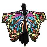 MRULIC Erwachsene SchmetterlingsflüGel Damen Nymphe Pixie KostüM ZubehöR Weihnachten Trenchcoat Im Freien Drachen Steigen Lassen Coat(C-Mehrfarbig,197 * 125CM)