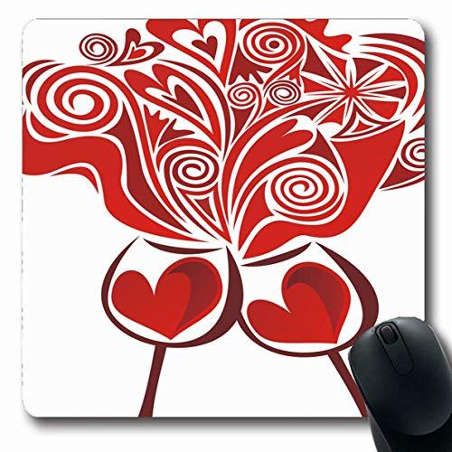 Luancrop Mousepad Draw Red Champagne Weingläser Valentinstag Liebe Kunstvolle Romantik Essen...