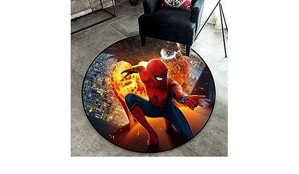 Maize store Fashion Cartoon Anime Chambre Salon Tapis Rond Super Hero Spider-Man Imprimer Chambre De Gar/çon pour Enfants Vestiaire Tapis Antid/érapant 90Cm