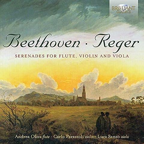 Beethoven, Reger : Sérénades pour flûte, violon et alto. Oliva, Parazzoli, Sanzo.