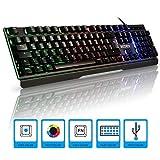 Gaming Tastatur,Hybrid Halbmechanische Tastatur 19 keys Anti-Ghosting Wasserdicht mit Handgelenkauflage Einstellbarer RGB Hintergrundbeleuchtung Kabelgebunden USB RECCAZR Folientastatur (QWERTZ, deutsches Tastaturlayout) für Videospiele PC Windows, Mac - Schwarz