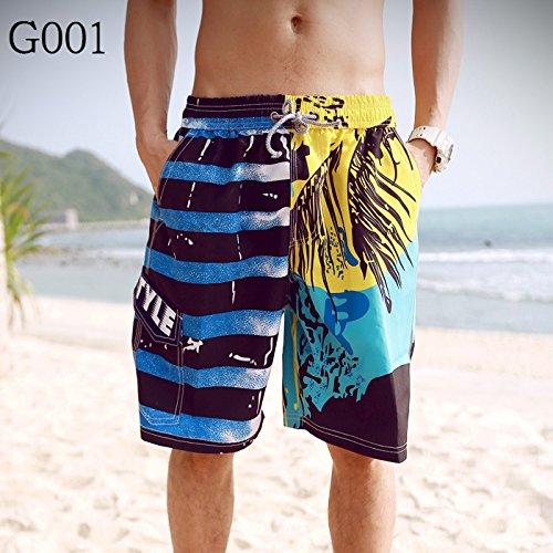 HOOM-Nouveau pantalon de plage d'été occasionnels Shorts hommes Camo coton taille lâche cinq pantalons shorts Yellow a