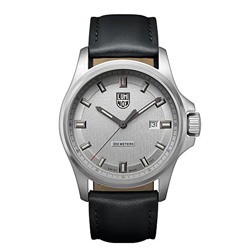 Luminox Dress Field Men's Quartz watch with Silver dial featuring LLT Luminox light Technology 42 millimeters Stainless Steel case and Black Leather Strap  XL.1839