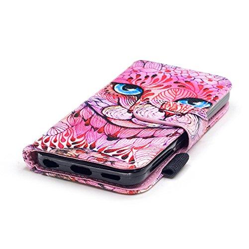 Lanyard Hülle Leder iPhone 5C,iPhone 5C Tasche mit Kartenfach,iPhone 5C Handyhülle Leder Etui,Felfy Magnetische Schnalle Flip Case Premium PU Leder Tasche Schön Katze Hai Eule Windspiele Skelett Muste Rosa Einhorn