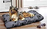 MY FELLOW Hundekissen Hundebett Hundesofa Hundekorb Haustierkissen Haustierliegekissen Hundematratze anthrazit Pfoten (M - ca. 70x100 cm anthrazit)