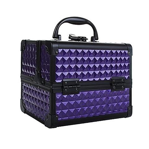 Coffret à Maquillage Professionnelle, Organiseurs Boîte à Bijoux Cosmétique Beauty Case Avec Miroir Make Up, 19.5x15x16cm Violet, Uuhome