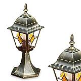 Sockelleuchte Antibes 1-flammig – Retro Außenbeleuchtung am Boden – Außenstehleuchte aus Aluguss in Braun-Gold und Glas – Sockelleuchte LED-fähig im Vintage-Design – 40cm – E27-Fassung max. 60 Watt