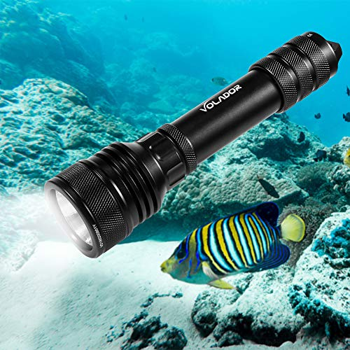 VOLADOR Tauchlampe, Dive Lamp, 2000 Lumens Underwater 150m Underwater Torch, Waterproof Flash Lights with 2x18650 Battery and Charger