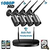Topgio 1080P 4CH Drahtloses Wireless Überwachungs Kamera Set Indoor/Outdoor WiFi Nachtsicht IP Kamera Bewegungsmelder 1TB Festplatte Drahtlosen Wasserfesten Kabellos Bewegungssensor Nachtsicht Kamera