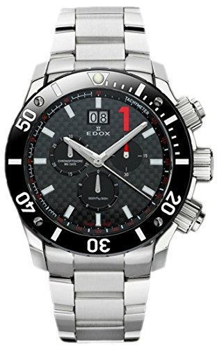EDOX 100203m NIN del hombre Chronoffshore pantalla analógica Swiss Plateado de cuarzo reloj
