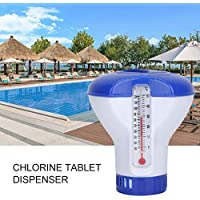 """HELING Pool Supply - Dispensador pequeño de Pastillas de Cloro y bromo de 1""""con termómetro Flotante Incorporado para Piscina, SPA, Fuente, 5"""""""