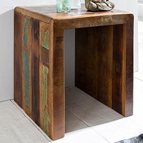 FineBuy Beistelltisch KALKUTTA 45 x 40 x 55 cm | Massivholz Couchtisch Wohnzimmer Tisch | Nachttisch Schlafzimmer Nachtkonsole Shabby-Chic | Nachtkästchen Massiv -